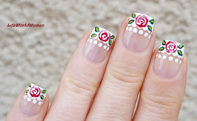 Life World Women French Manicure With Rose Design