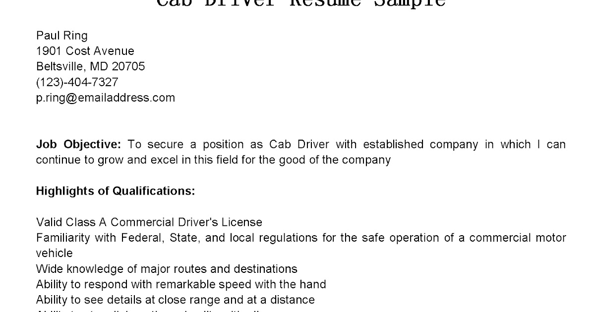 cab driver resume example skills