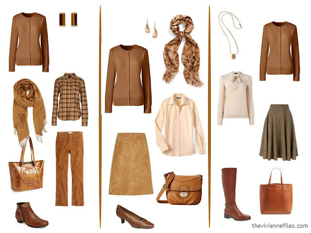 three capsule wardrobe outfits with a cinnamon cardigan