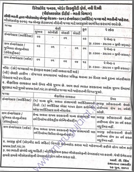 Border Security Force (BSF) Recruitment for Inspector
