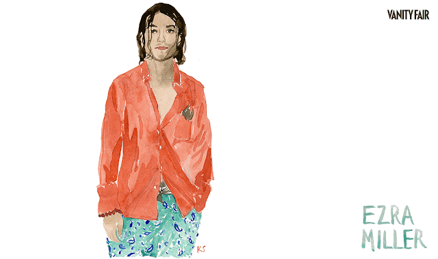 Ezra Miller watercolo by artist and stylemaker Kate Schelter