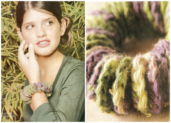 bisutería ganchillo, pulsera-brazalete, crochetería, patrones crochet