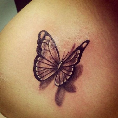 Pequena Borboleta Preta com Sombra Tatuagem
