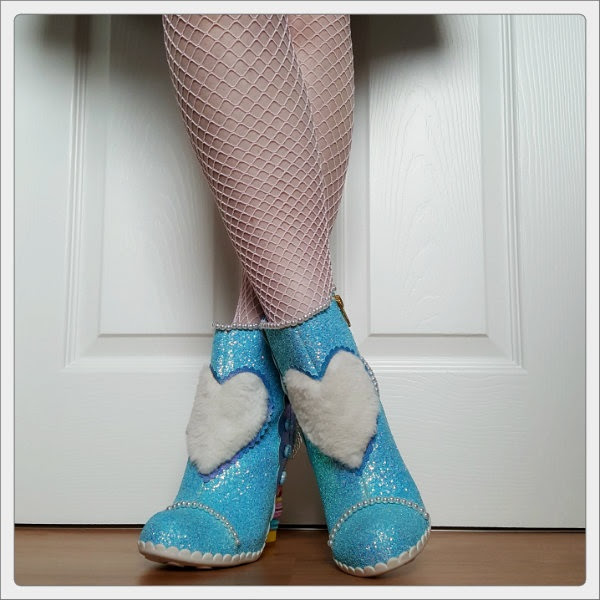 wearing Irregular Choice Bee Delicious furry applique heart boots front