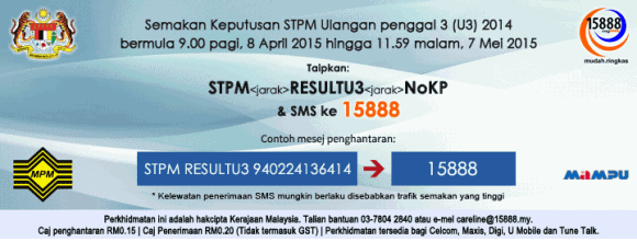 result STPM Ulangan Penggal 3 2014