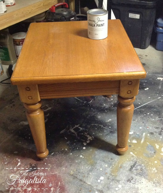 An oak side table before a makeover