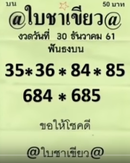 Thai Lottery VIP Pointers For 01 January 2019 | Thailand Lottery This day Consequence