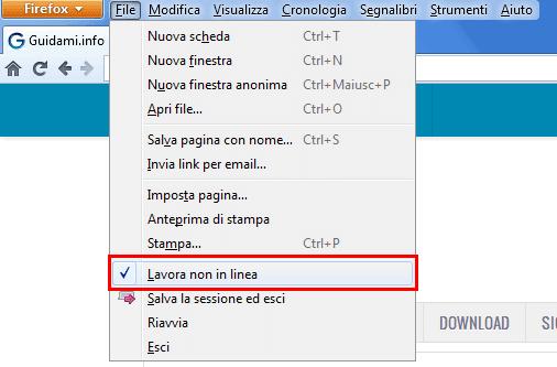 Firefox modalità Lavora non in linea attivata
