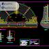 مخطط وهياكل معمارية لمدرج شبه دائري اوتوكاد dwg