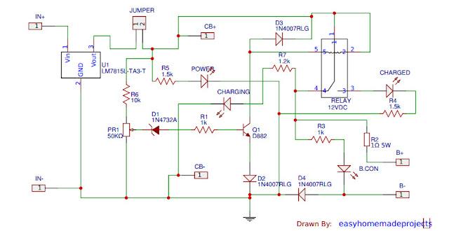 دائرة شحن اتوماتيك لبطاريات 12v lead Acid