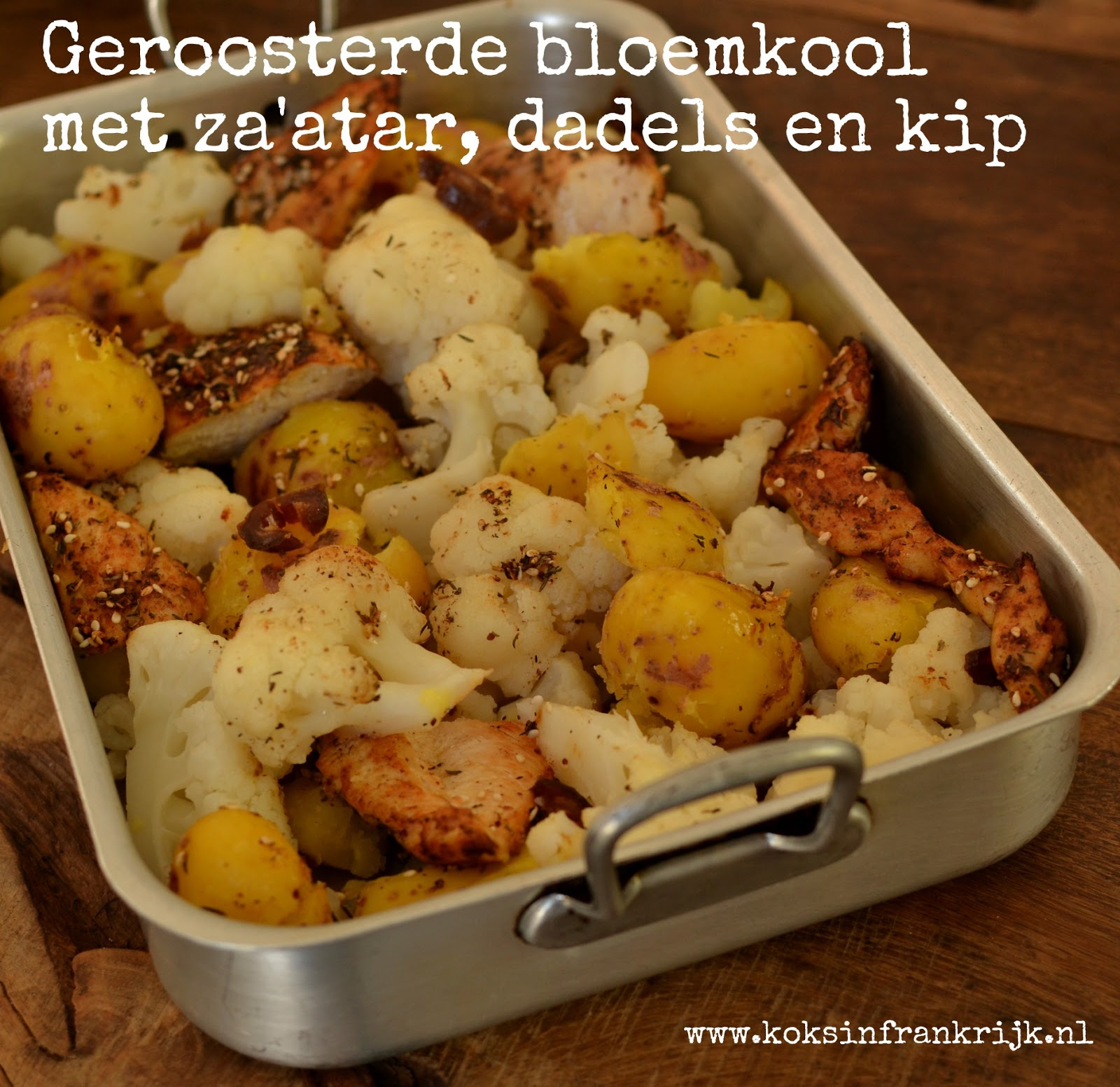 Geroosterde bloemkool met za'atar, dadels en kip