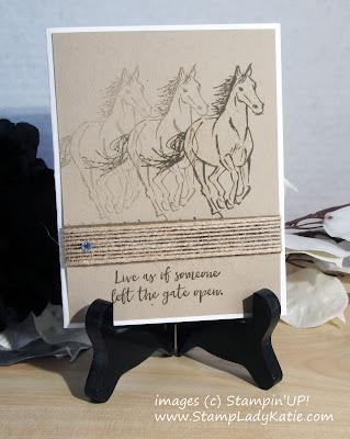 "Card shows the stamping off technique used to create the illusion of motion. Horse is from Stampin'UP!'s ""Let It Ride"" stamp set"