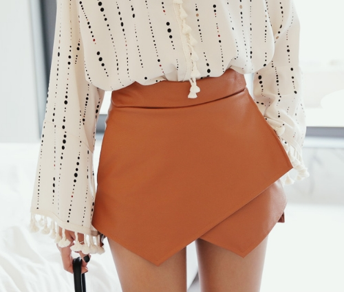 Faux Leather Wrap Skort