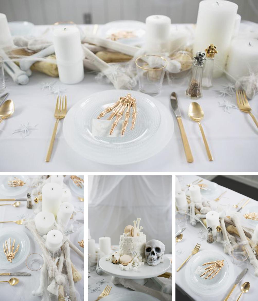 como decorar tu mesa de halloween con tonos blancos y dorados y elementos terroríficos elegantes total look