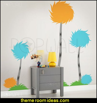 Dr seuss Truffula trees wall decal  Dr Seuss bedroom ideas - Dr.Suess bedroom decor - Dr Seuss Bedding - dr. seuss nursery  - decorating ideas  cat in the hat theme bedrooms -  Dr Seuss wall decal stickers - DR SEUSS wall mural decal - Dr. Suess playroom ideas - Dr. Seuss Plush Toys