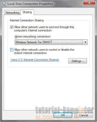 Share koneksi modem atau kabel LAN dengan media Wireless