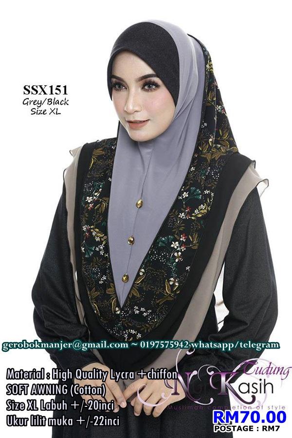 TUDUNG SHIBA NUR KASIH SOFT AWNING LAYER SAIZ XL