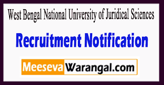 WBNUJS West Bengal National University of Juridical Sciences Recruitment Notification 2017 Last Date 17-07-2017