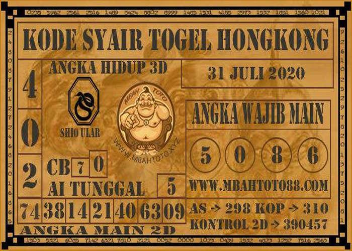 Kode syair Hongkong Jumat 31 Juli 2020 265