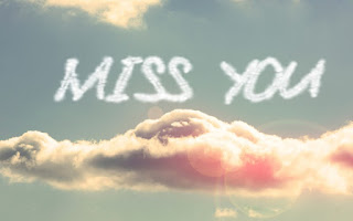 miss you text image over the clouds