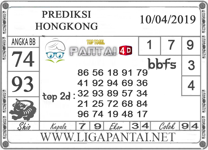 """Prediksi Togel """"HONGKONG"""" PANTAI4D 10 APRIL 2019"""