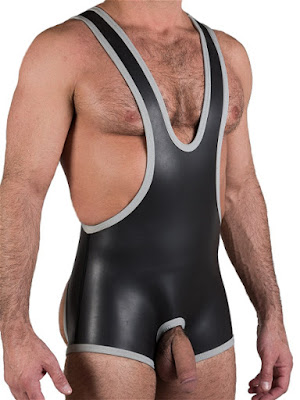 665 Leather Neoprene Open Crotch Wrestling Singlet Black-Grey Gayrado Online Shop