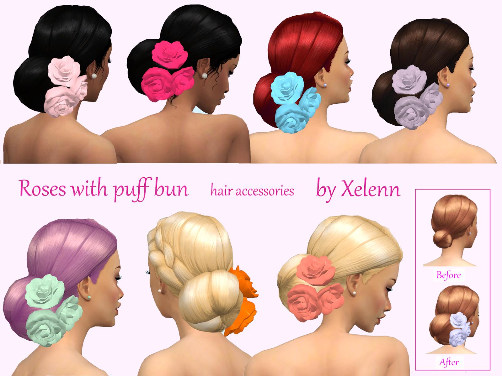 The sims 4 hair accessories - Roses Hair Accessories By Xelenn