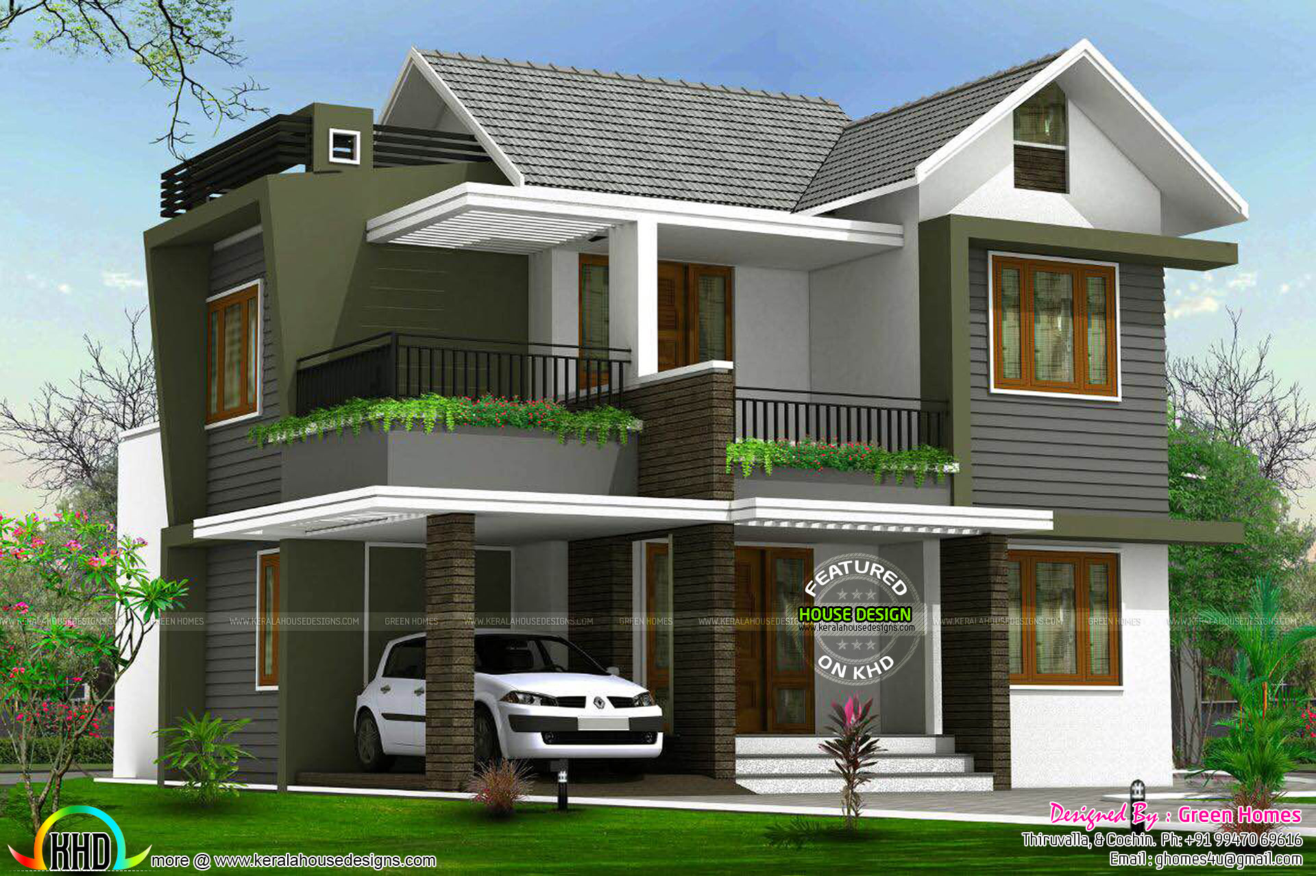 4bhk floor plan and elevation in 5 cent kerala home for Big home designs