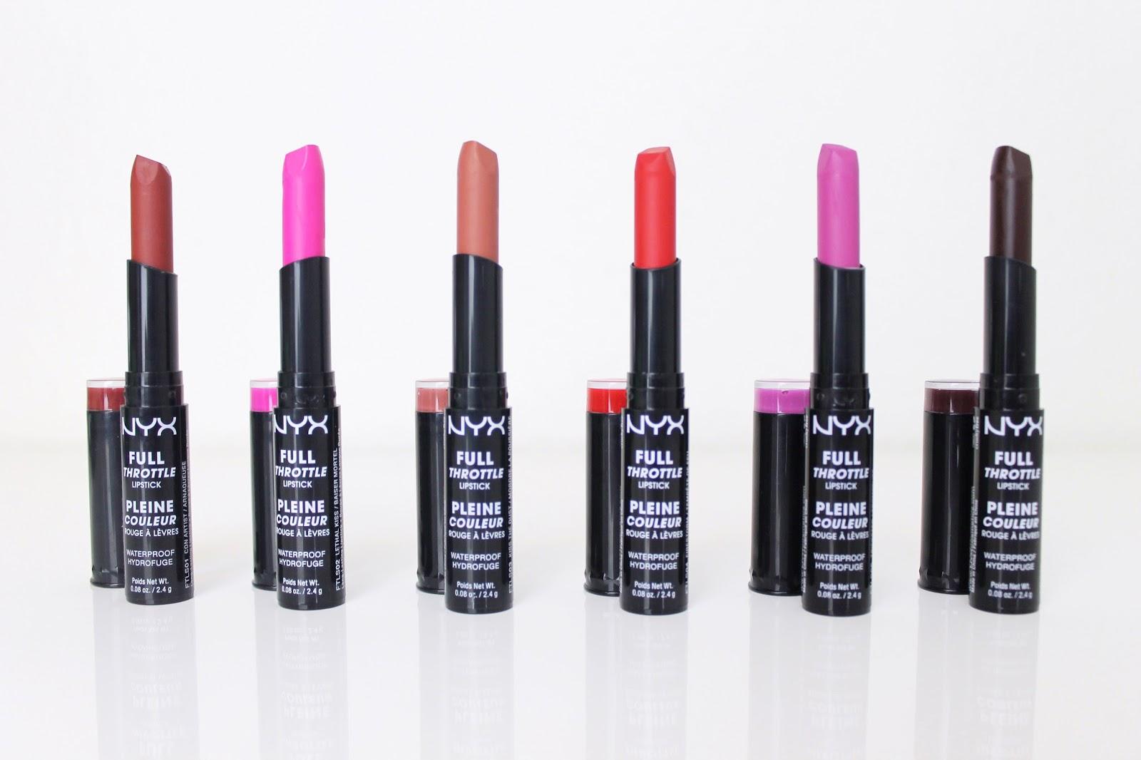 "NYX ""Full Throttle"" Lipstick Swatches - All 12 Shades ...  NYX ""Full ..."