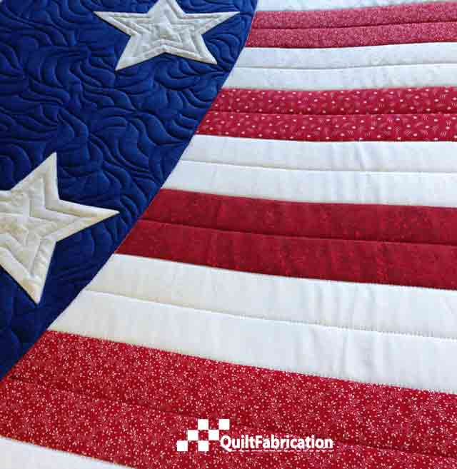 Patriotic Wave Table Runner quilting closeup