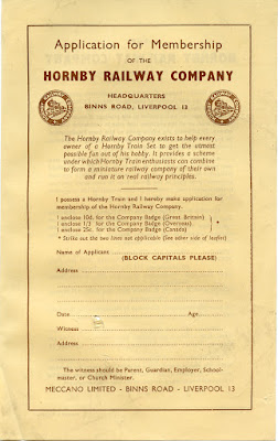 Application for Membership of the Hornby Railway Company