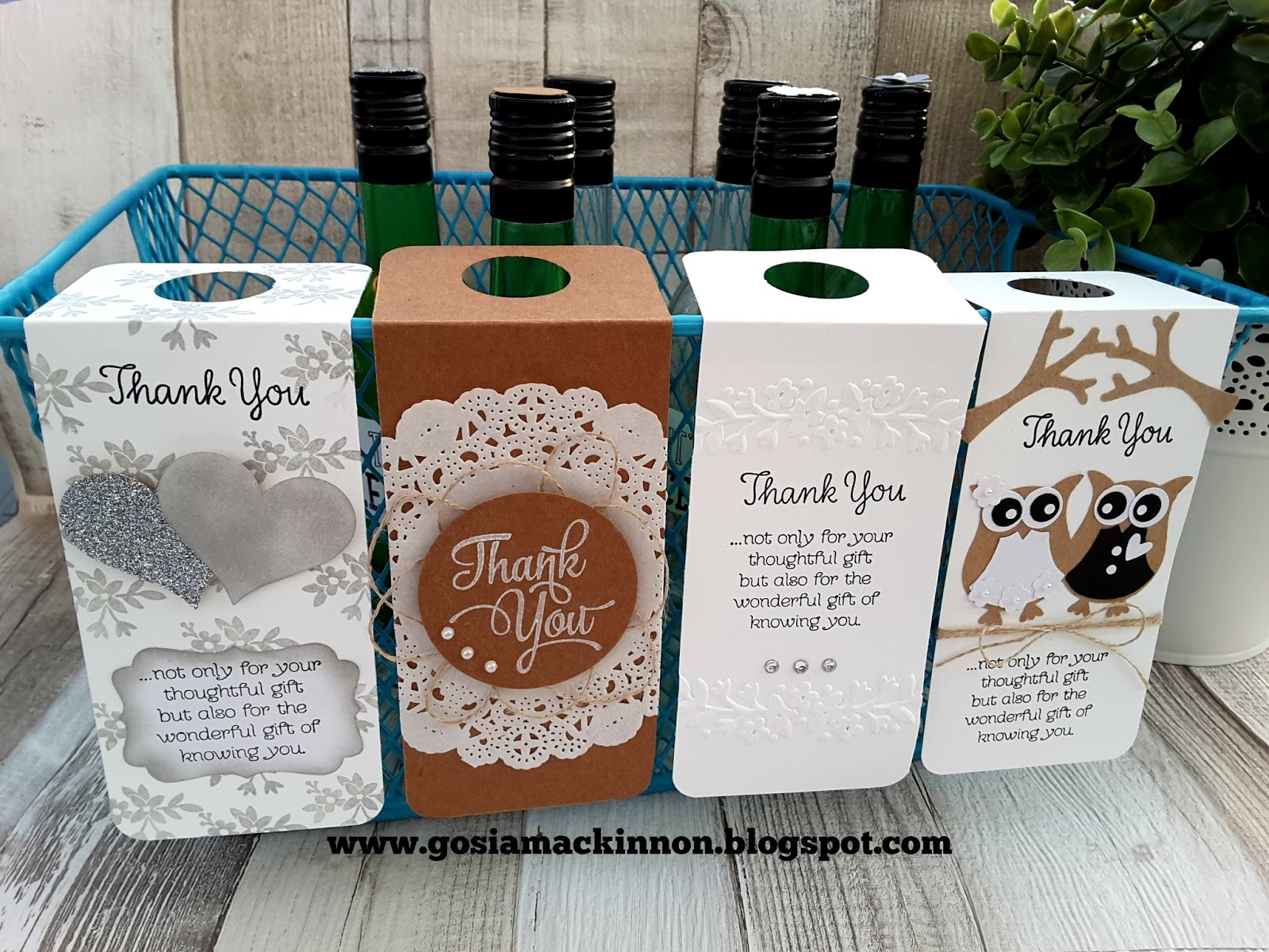 WEDDING FAVOR WINE BOTTLE LABEL & TAGS IDEA WITH STAMPIN UP!