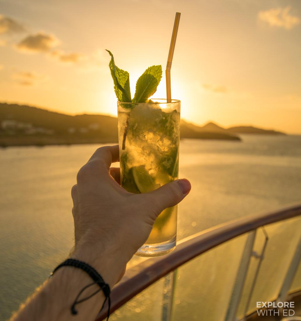 Cocktails at sundown on The Viking Sea