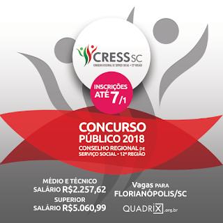 Concurso CRESS-SC 2018/2019 {Apostilas, Edital e Inscrição}