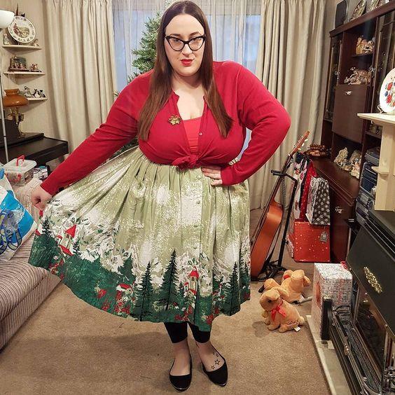 Lindy Bop Adalene Green Alpine Print Plus size Skirt
