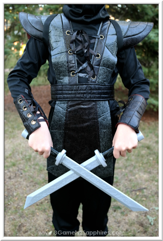Ninja Fighter Leather Boys Halloween Costume Details  |  3 Garnets & 2 Sapphires
