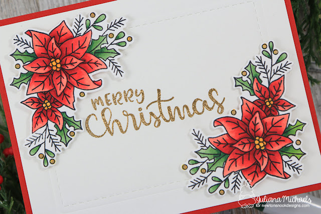 Joy Christmas Card by Juliana Michaels featuring Newton's Nook Designs Poinsettia Blooms and Sentiments of the Season Stamp Set