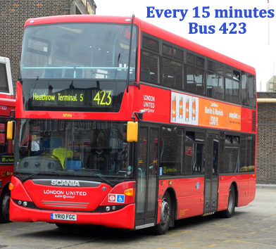 Bus No 423 Is A Free Local That Operates From Heathrow Terminal 5 To Lodge The First Stop For Times Click Here