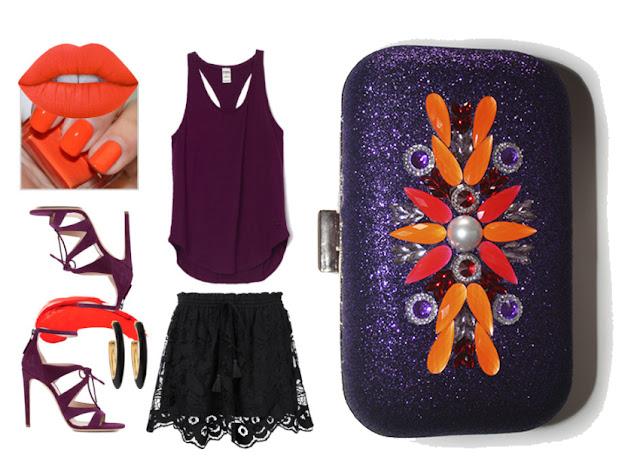 Combina morado con este clutch de fiesta morado, rojo y naranja