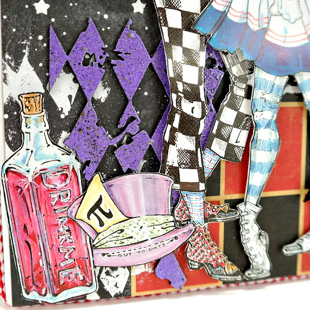 Stenciled Stamped and Embossed Harlequin Design Layers on an Alice in Wonderland Mixed Media Art Board