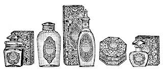 perfume bottle image vintage illustration transfer border design