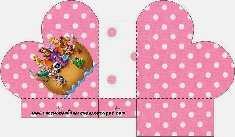 Caja abierta en forma de corazón de Arca de Noé para Niñas.