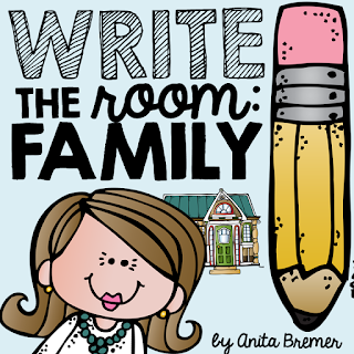 Family themed Write the Room literacy center activity for Kindergarten and First Grade