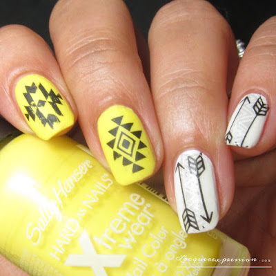 Yellow and white tribal nail art using BornPrettyStore Item BP-W26