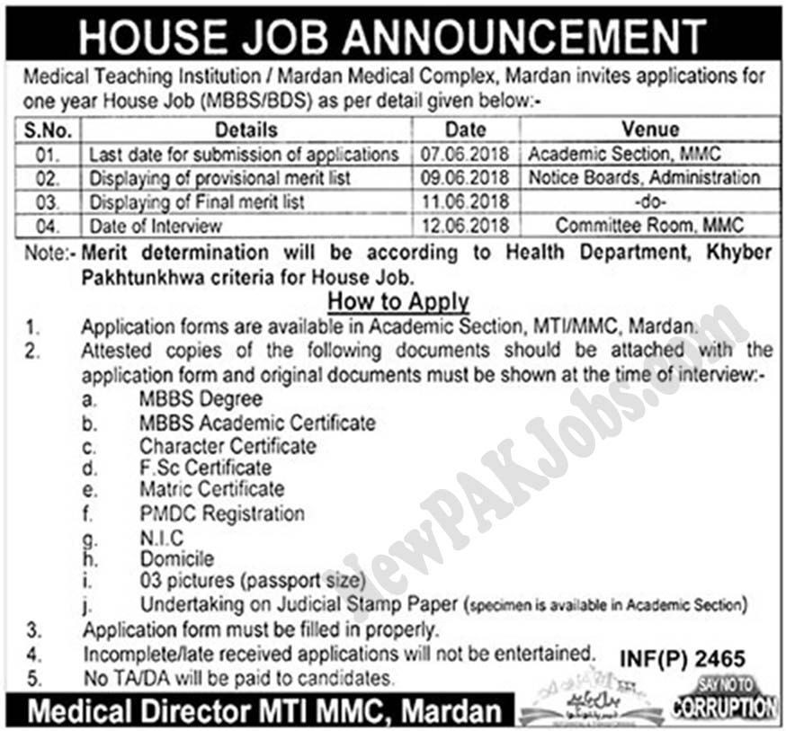 House Job Based Vacancies in Mardan Medical Complex and Teaching Hospital