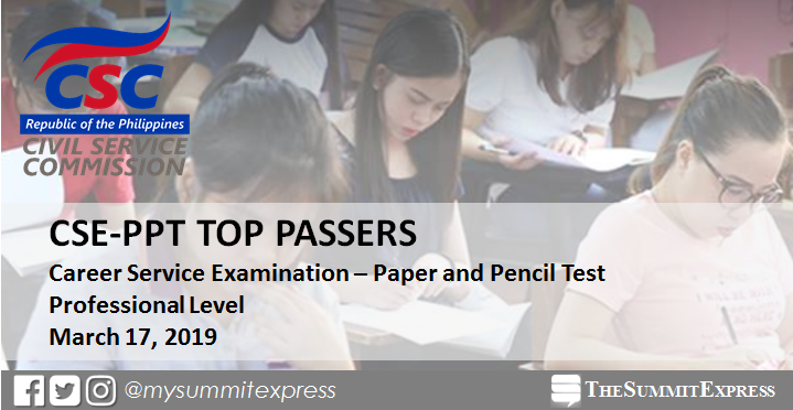 TOP 10 PASSERS: March 2019 Civil Service Exam Professional Level