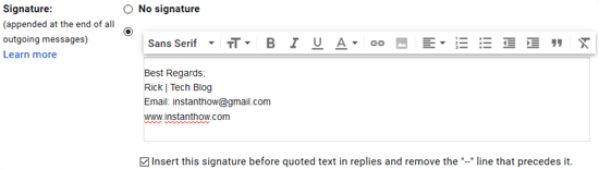 Add a Signature in Gmail