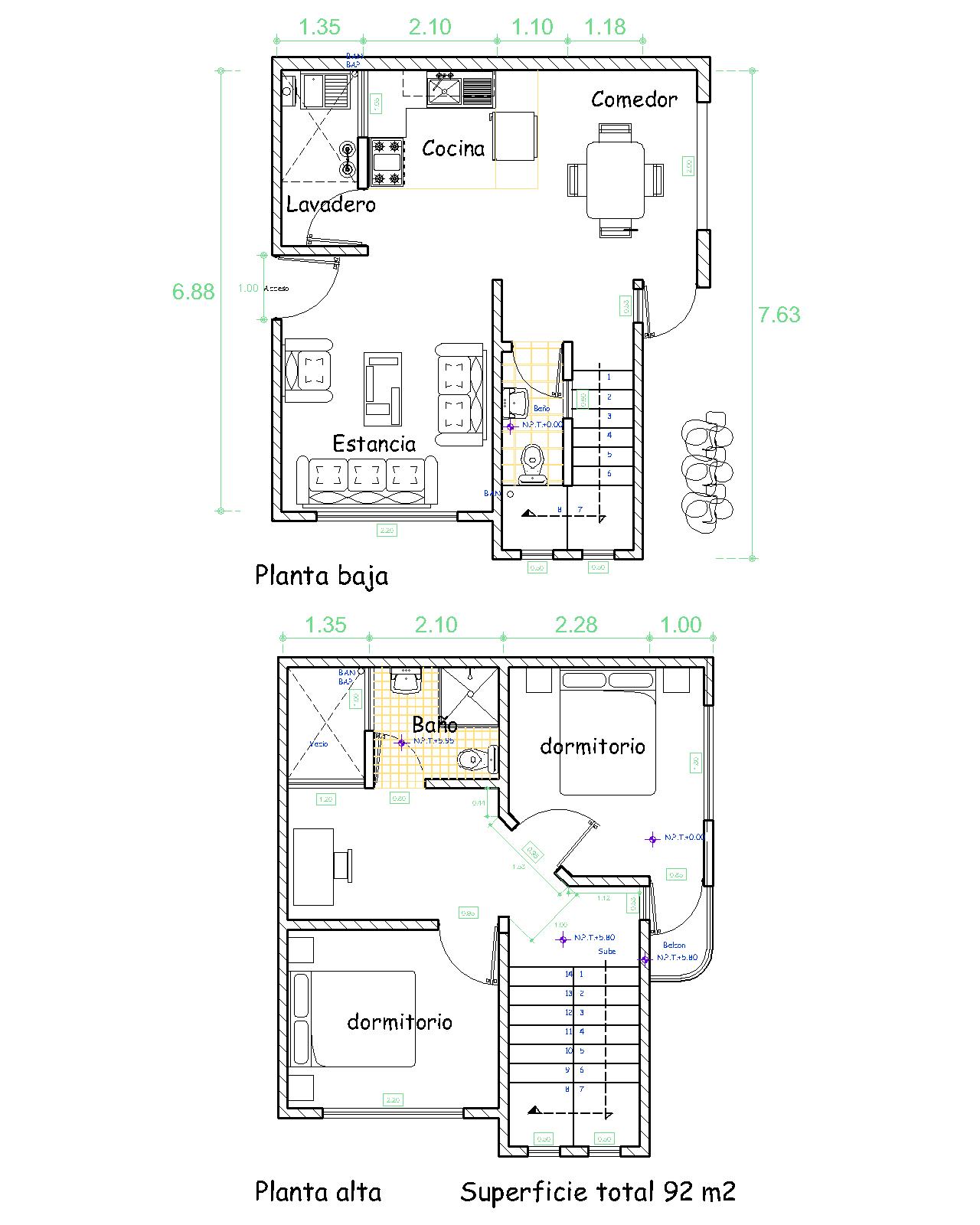 Arquitectura y dise o plano de una casa de 92 m2 - Diseno de planos de casas ...