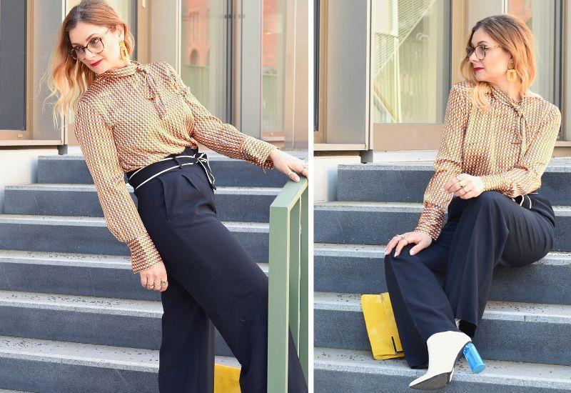 Business Outfit mit klassischer Schluppenbluse und schwarzer Hose