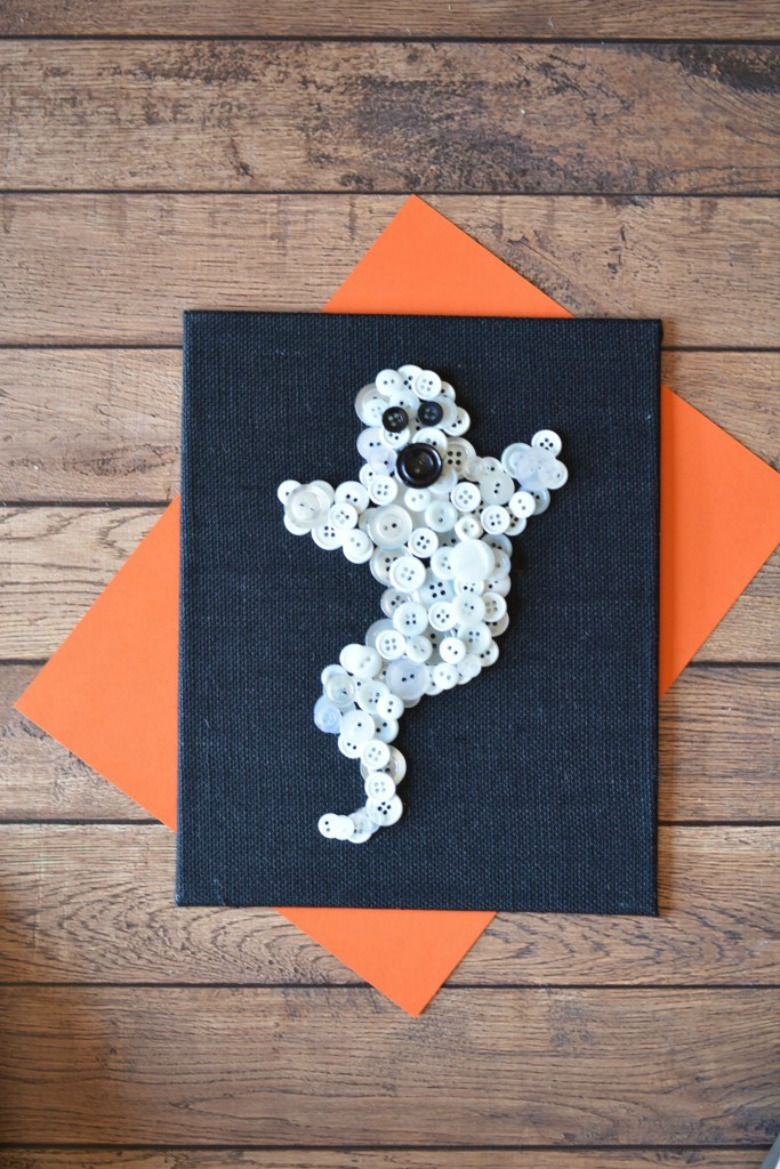 button ghost art by living off love and coffee - Ghost crafts for kids